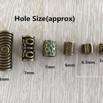 6Pcs/Lot mix Antique Brass color hair braid dread dreadlock beads clips cuff approx 5-7mm hole