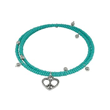 Memory Wire Bracelet Turquoise Stone Heart Charm in 925 Sterling Silver }{ Fronay Collection