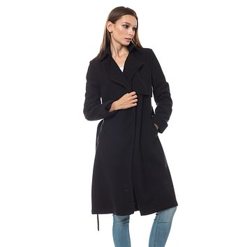 LE3NO Womens Fully Lined Belted Long Winter Fleece Coat with Pockets