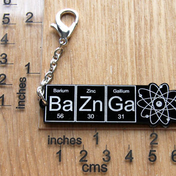 NEW BAZINGA....Black BaZnGa zipper pull ... periodic table inspired jewelery