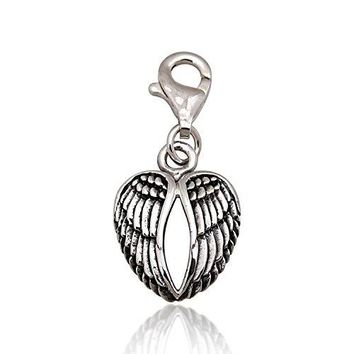 925 Sterling Silver Oxidized Detailed Double Angel Wings Feather Lobster Clasp Charm