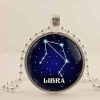 Libra birth sign, Zodiac, Astrology glass and metal Pendant necklace Jewelry.