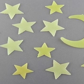 Stars and Moon Sun Glow In The Dark Wall Decal