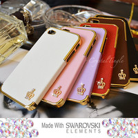 Sparkle Crown Design Luxury Designer Inspired White Pink Purple Leather Hard Case (Gold Frame) Made with Swarovski Crystals iPhone 4S 4