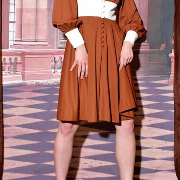 70s Brown Button Down Poet Sleeve Dress / S
