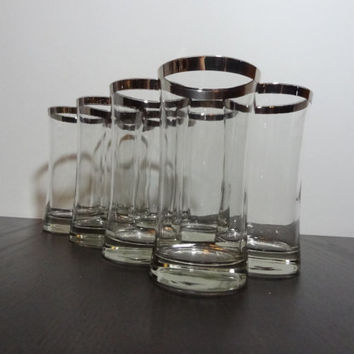 Vintage Silver Rimmed Highball Glasses with Flare Top - Cocktail Bar/High Ball Glasses - Set of 8