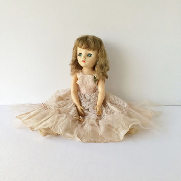 "Vintage 18"" Sleep Eye Doll in Fancy Gown, 1950s Blue-Eyed Doll, Bridesmaid Doll in Lace Tea-Length Dress, Like Ideal Miss Revlon Doll"