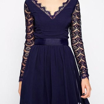 Lace Splicing Long Sleeve Cut-Out Skater Dress