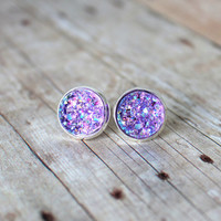 L I L A C - Purple Iridescent Chunky Sparkle, Faux Druzy, Silver Plated Stud Earrings, 12mm