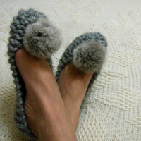 Chunky gray slippers for women Footwear Handmade home shoes Rabbit Fur Pom Pom Knitted slippers House flats READY to SHIP