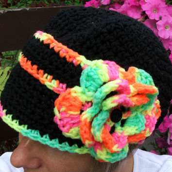 Crochet Hat. Neon. Black. Brim Hat. Made by Bead Gs on ETSY. Cap. Summer Hat. Neon Flower