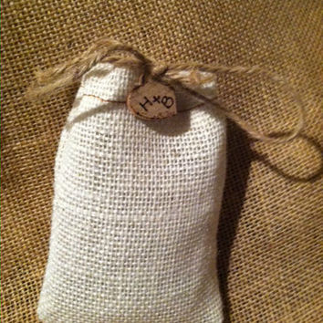 Burlap Wedding Favor Bags Personalized with Heart Charm Set of 50