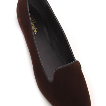 Brown Round Toe Cute Casual Flats Faux Suede