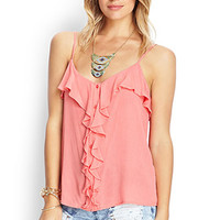 FOREVER 21 Ruffled Woven Cami Coral