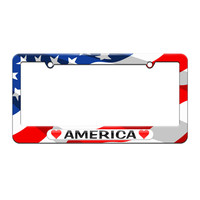 America Love with Hearts - License Plate Tag Frame - American Flag Design