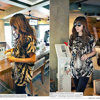 New Hot Fashion Women T-shirts Casual Printed Tiger Long NWT Top T-shirt Tops