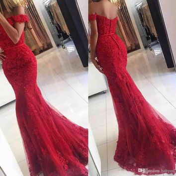 Red Lace Mermaid Prom Dresses 2017 New Off Shoulder Beaded Appliques Tulle Floor Length Long Evening Gowns Vestidos De Fiesta