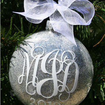 Monogrammed Glitter Ornament, Glass. Great for a newly married couple!