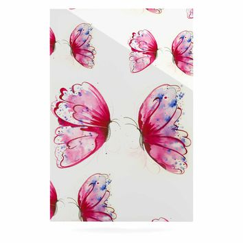 "Maria Bazarova ""Pink Butterflies"" Pink Blue Nature Floral Painting Watercolor Luxe Rectangle Panel"