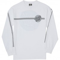 Santa Cruz Other Dot Stipes Longsleeve T-Shirt - White/Silver