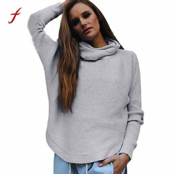 2017 Hot Womens Auturm Winter Sweater High Elastic Solid Turtleneck Sweater Women loose Sexy Tight Bottoming Knitted Pullovers