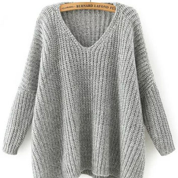 Light Grey Bat-wing Sleeve Ribbed Sweater