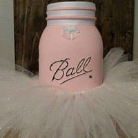 Pink Ballerina Mason Jar Decor -
