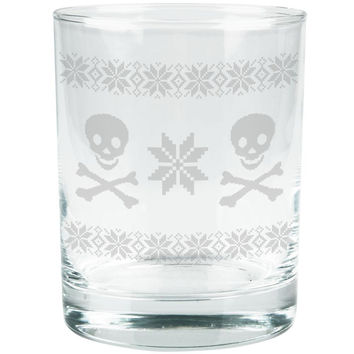 Skull & Crossbones Ugly Christmas Sweater Etched Glass Tumbler