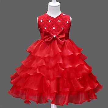 New Elegant Girl Dress Bow knot Floral Dresses Girls Clothes lace Princess Party Dress Summer Kids Girls Clothes