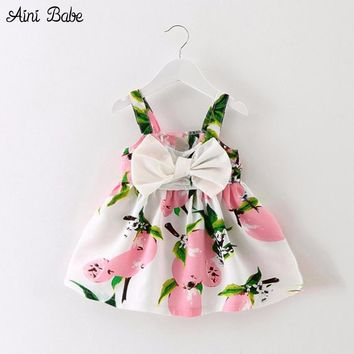 2017 Sundress Newborn Baby Boutique Dress Girls Party Dresses Lemon Print Infant 1 Year Birthday Dress Baby Kids Holiday Costume