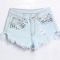 Light Blue Riveted Ripped Fringe Shorts