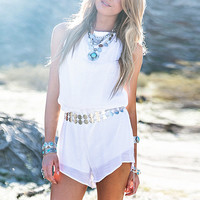 Halter Drawstring Sleeveless Rompers