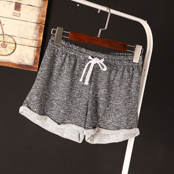 High Rating Feedback Summer Casual Cotton Black Running Short High Waist Shorts Femininos Women Sport  Workout Shorts Plus Size