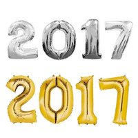 4Pcs 2017 Gold / silver supplies foil ballon happy new year party decoration Celebration balloon A2