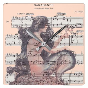Mermaid On Sheet Music Coastal Clock