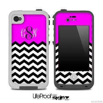 Custom Monogram Initials Hot Pink Chevron Pattern Skin for the iPhone 5 or 4/4s LifeProof Case
