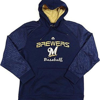 Milwaukee Brewers Majestic E-Systems Pullover Hooded Sweatshirt Size L