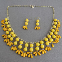 yellow necklace, beadwork necklace, bubble necklace, bib bubble necklace, bridesmaid gifts, bubble necklace