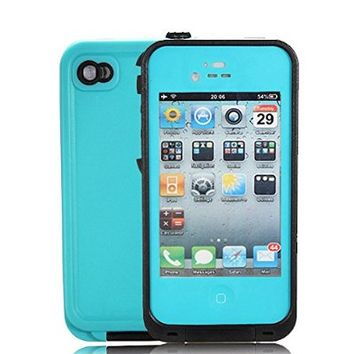 iPhone 4 Waterproof Case, iPhone 4S Waterproof Case, Zoumba Waterproof Shockproof Full Body Skin Case Cover Pouch for iPhone 4 4S 4G, Multi Purpose Protective Skin for water, shock, snow, dirt - Teal