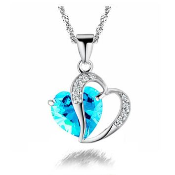 New LNRRABC Trendy Crystal Pendant Friendship Shape Small Love Heart Long Chain Statement Necklace Stone Silver for Girlfriend