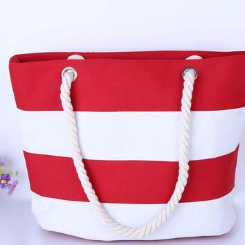 Beach Handbag Casual Canvas Striped Shoulder Bag Large Shopping Bag