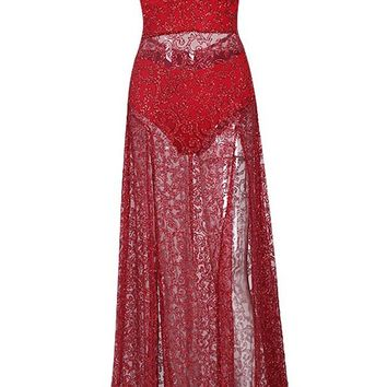 Light My Fire Red Sheer Glitter Sleeveless Spaghetti Strap Deep V Neck Double Split Maxi Dress