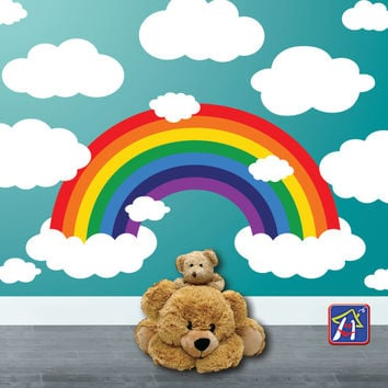 Rainbow Wall decal - Rainbow and Clouds Wall Decal - Nursery Rainbow and Clouds Decor, Bedroom Playroom decor - Toddler bedroom  Wall decal