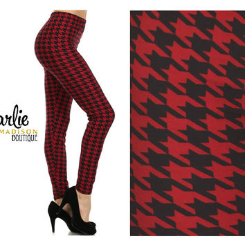 Red Hounds Tooth Leggings - S-L