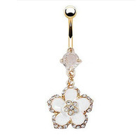 Enamel Flower and Crystal Belly Ring