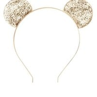 Glitter Mouse Ears Headband by Charlotte Russe - Gold Combo