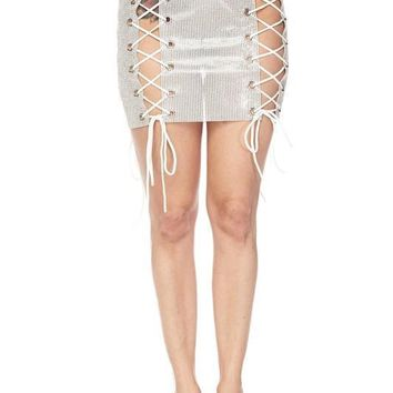 Go Frost Yourself Crystal Lace Up Mini Skirt