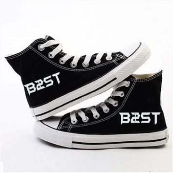 Beast Board shoes canvas sport shoes walk shoes accessories merchandise+2 pieces Beast Lomo card (Black, Girl US 7)