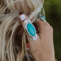 Coastal Waves Turquoise Statement Ring