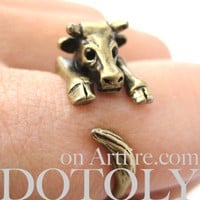Cow Bull Animal Wrap Around Ring in Brass - Sizes 4 to 9 Available